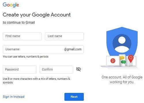 Crear cuenta de Gmail